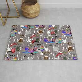 Big Dog Weim Nation Grey Ghost Weimaraner Hand-painted Pet Pattern on White Rug