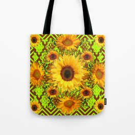 Chartreuse Chocolate Brown Patterns Yellow Sunflowers Abstract Art Tote Bag