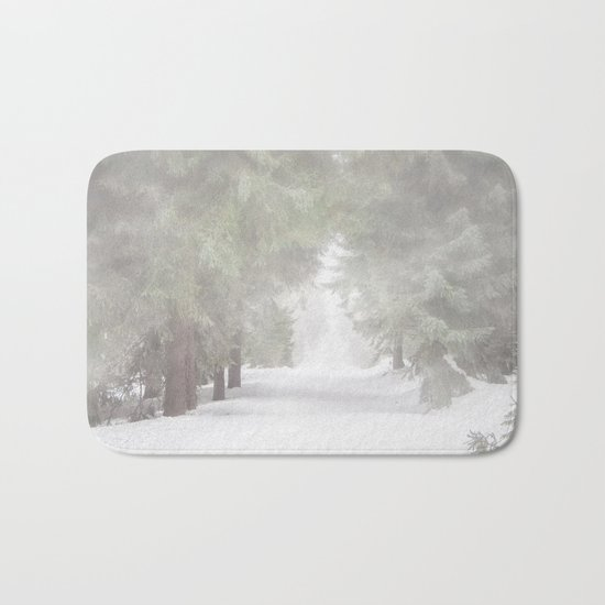 Enchanted forest - Winter Snow Wood Trees Bath Mat