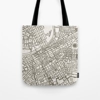 nashville Tote Bags featuring Nashville Map by Zeke Tucker
