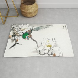 Exotic Bird And Magnolia Flowers - Vintage Japanese Woodblock Print Art By Numata Kashu Rug