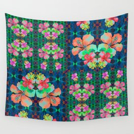 Retro Magic Hawaiian Floral Print Wall Tapestry