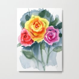Red, Yellow and Pink Roses Metal Print