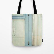 Beach Hut window - blue Tote Bag