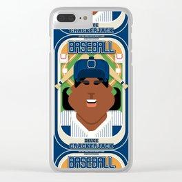 Baseball Blue Pinstripes - Deuce Crackerjack - Aretha version Clear iPhone Case