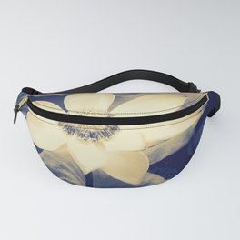 Lotus Flower blue and cream duotone picture Fanny Pack