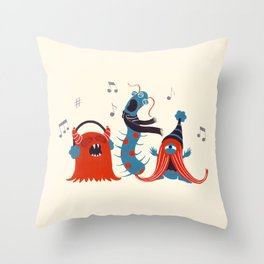 Three Monsters Singing Throw Pillow