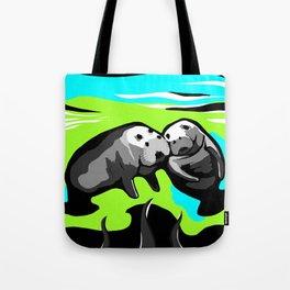 MANATEE LOVE in Blue Green Underwater Tote Bag