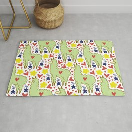 Funny colorful alpacas with hearts, stars and flowers pattern Rug