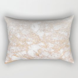 Elegant white faux glitter stylish marble pattern Rectangular Pillow
