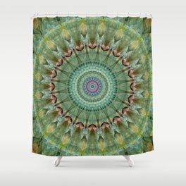 Mandala green malachite Shower Curtain