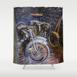 1920s Motorcycles Shower Curtain