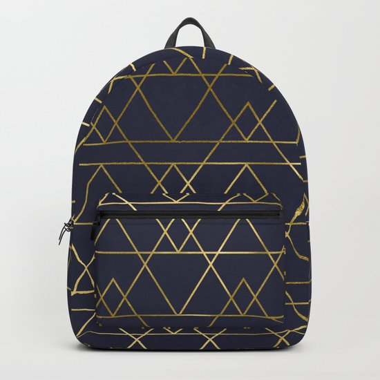Modern Gold Navy Blue Backpack