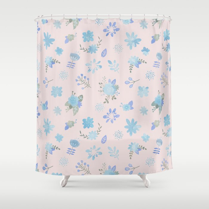 Pastel Pink Blue Green Watercolor Floral Illustration Shower Curtain