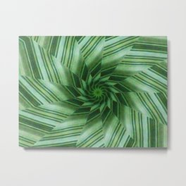 Green Stripes Kaleidoscope 7 Metal Print