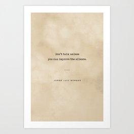 Jorge Luis Borges Quote 04 - Typewriter Quote on Old Paper - Minimalist Literary Print Art Print