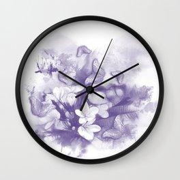 Ultraviolet tropical flowers and butterflies Wall Clock