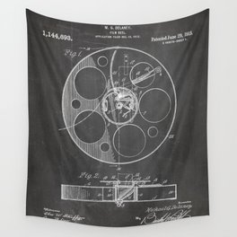 Film Reel Patent - Classic Cinema Art - Black Chalkboard Wall Tapestry