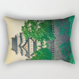 Kawase Hasui Vintage Japanese Woodblock Print Nagoya Castle Rectangular Pillow