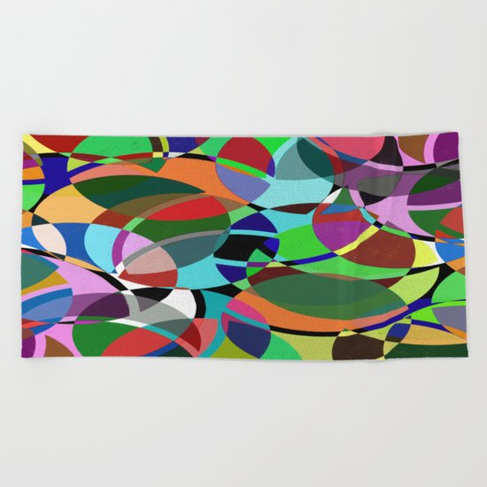 Pastel Pieces II - Abstract, textured, pastel, arcs and circles design Beach Towel