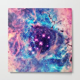 Trendy Pastel Pink Blue Nebula Girly Stars Galaxy Metal Print