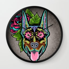 Doberman with Cropped Ears - Day of the Dead Sugar Skull Dog Wall Clock