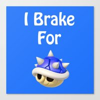 mario kart Canvas Prints featuring I Brake For Blue Shells (Mario Kart)  by Don Enrique