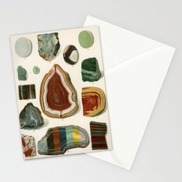 Vintage Colorful Agate Mineral Illustration from the 1907 book Atlas Mineralu  Stationery Cards