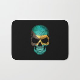 Dark Skull with Flag of Bahamas Bath Mat