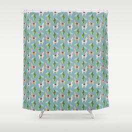 Cute Llamas Illustration Shower Curtain