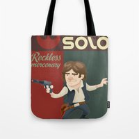 han solo Tote Bags featuring Han Solo by Alex Santaló