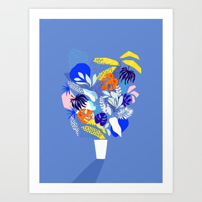 Keep Growing - Tropical plant on Blue Art Print
