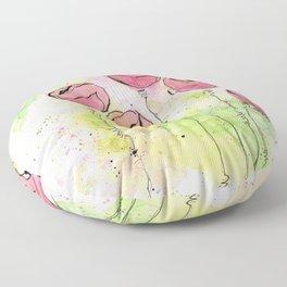 Pink and Green Splotch Flowers Floor Pillow