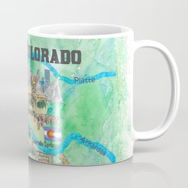 USA Colorado State Travel Poster Illustrated Art Map Coffee Mug