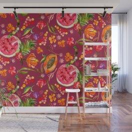 Tropical Fruit Festival in Red | Frutas Tropicales en Rojo Wall Mural