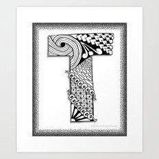 Zentangle T Monogram Alphabet Illustration Art Print