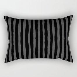Black and Grey Stripe Rectangular Pillow