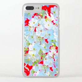 BLUE TINGED WHITE PHLOX FLOWERS RED Clear iPhone Case