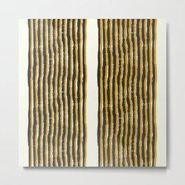 Zen Stripe Block Print Mustard Metal Print