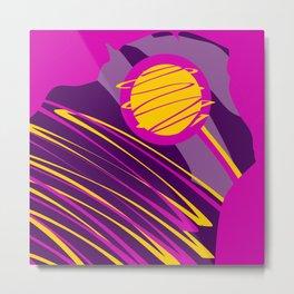 Egg Yolk Planet Zig Zagging Abstract Design Metal Print