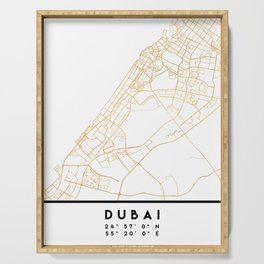 DUBAI UNITED ARAB EMIRATES CITY STREET MAP ART Serving Tray