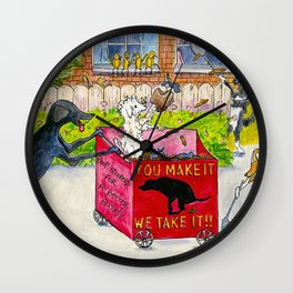 Canine Poop Scooping Contest Wall Clock