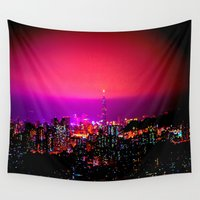 skyline Wall Tapestries featuring City Skyline by 2sweet4words Designs