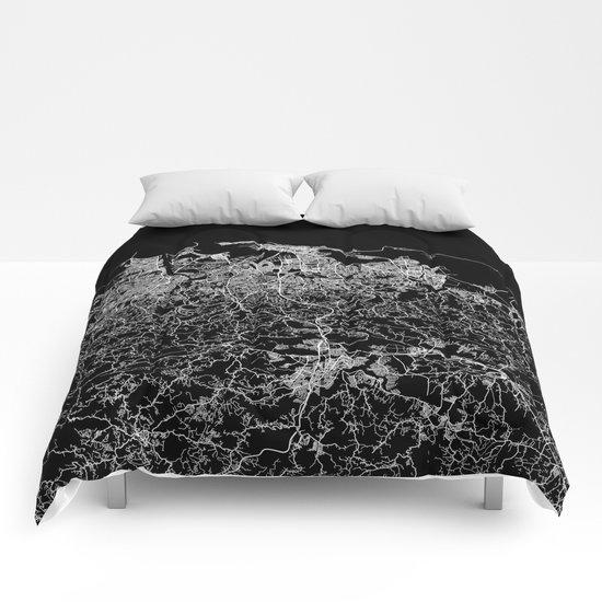 san juan map porto rico Comforters