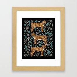 Cheetah safari art printmaking screen print giclee by andrea lauren Framed Art Print