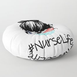 Nurse Life Proud American Cool Woman Floor Pillow