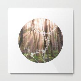 Circle Deer in Forest Metal Print