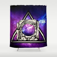 astronaut Shower Curtains featuring Astronaut by Pancho the Macho