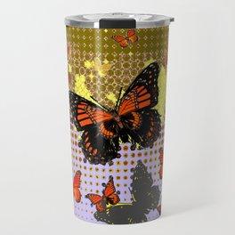 Abstracted Black & Orange Monarch Butterflies Grey Art Travel Mug