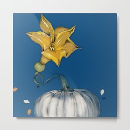 I am a pumpkin with a beautiful flower Metal Print